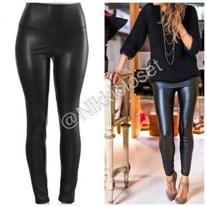 Black faux leather legging high waisted LINED